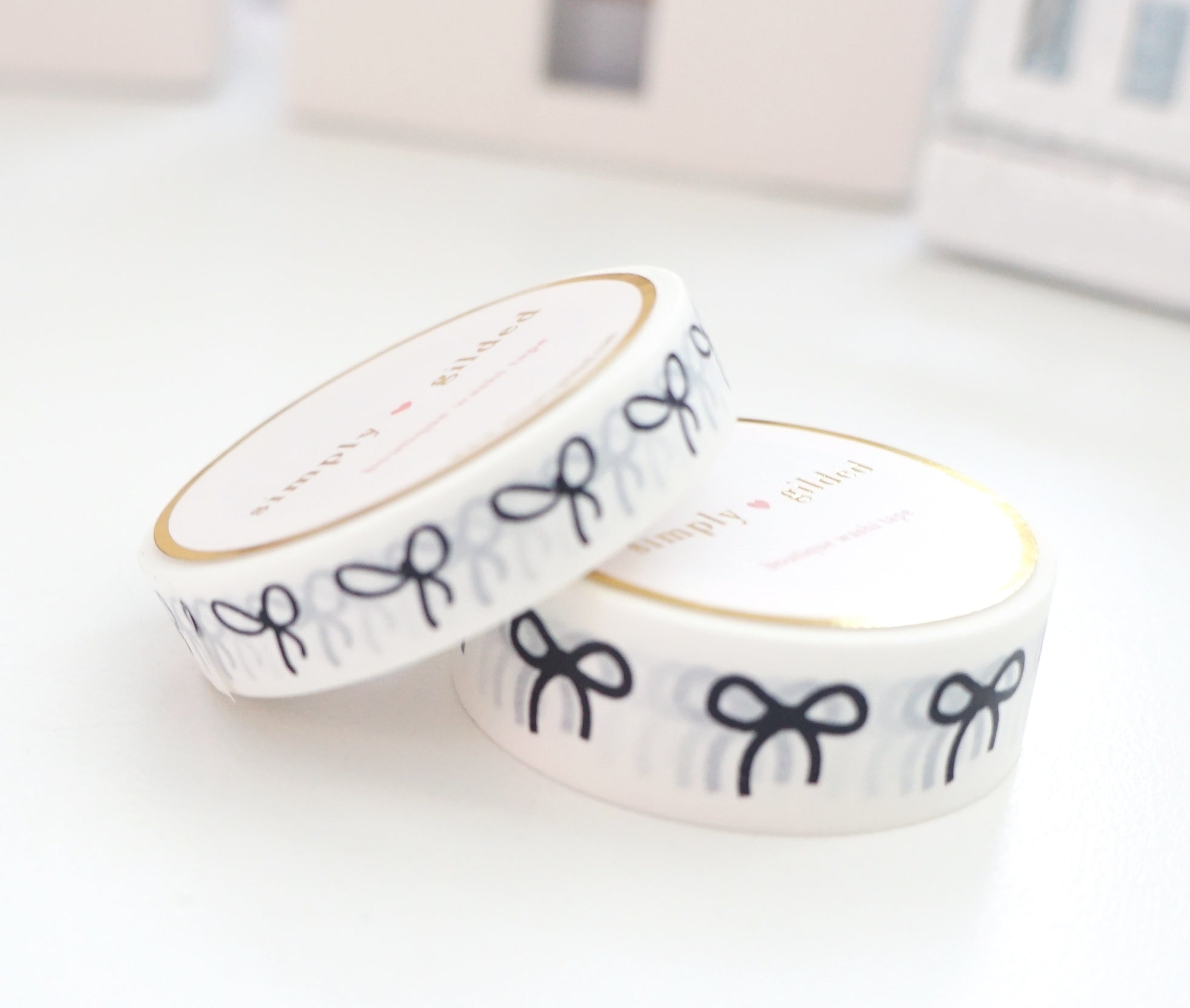 WASHI TAPE 15/10mm BOW set - WHITEBOARD + Black bows