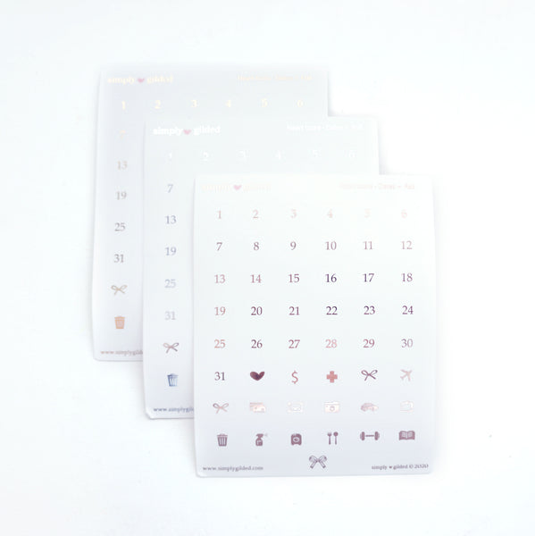 STICKERS - WHITE Heart Icons DATES + you choose foil