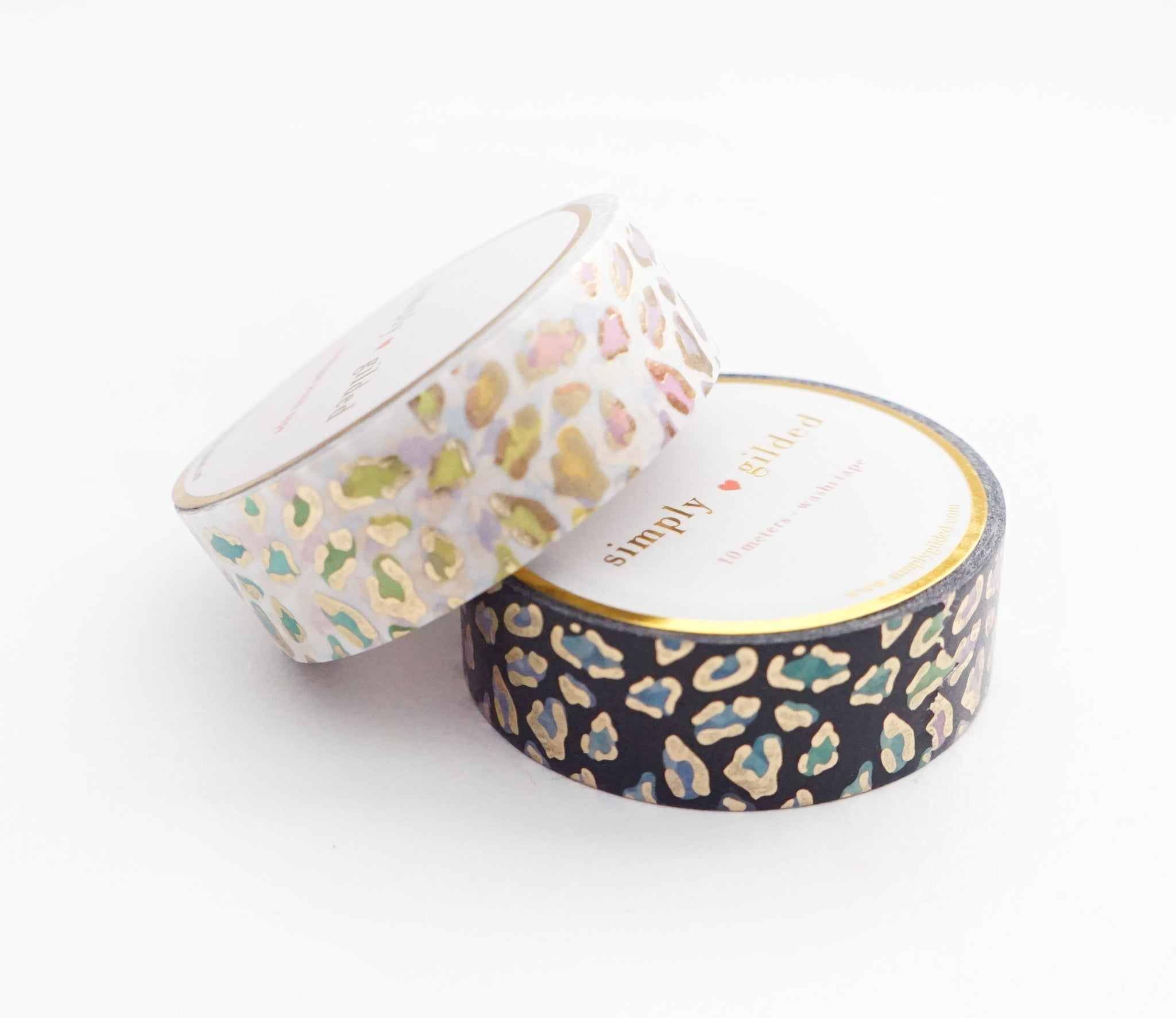 WASHI TAPE 15/15mm - WILD lucky leopard (Black/White) + LIGHT GOLD foil (February 28 Release)