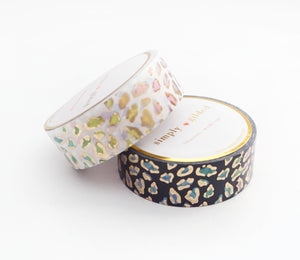 WASHI TAPE 15/15mm - WILD lucky leopard (Black/White) + LIGHT GOLD foil