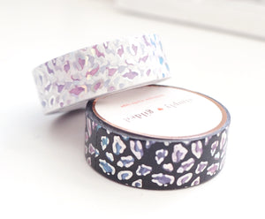 WASHI TAPE 15/15mm set - WILD Leopard Ombre set + SILVER holographic OOPS (Mystery Monday)