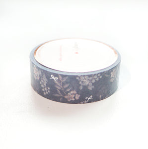 WASHI 15mm - Winter BERRY + SILVER foil mini bow