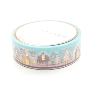 WASHI 15mm - GINGERBREAD Town 2.0 + hot gold (minty blue)