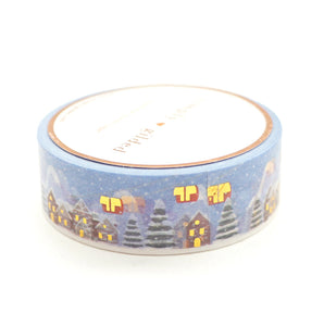 WASHI 15mm - SKI Lodge NIGHT 2.0 + hot gold (blue)
