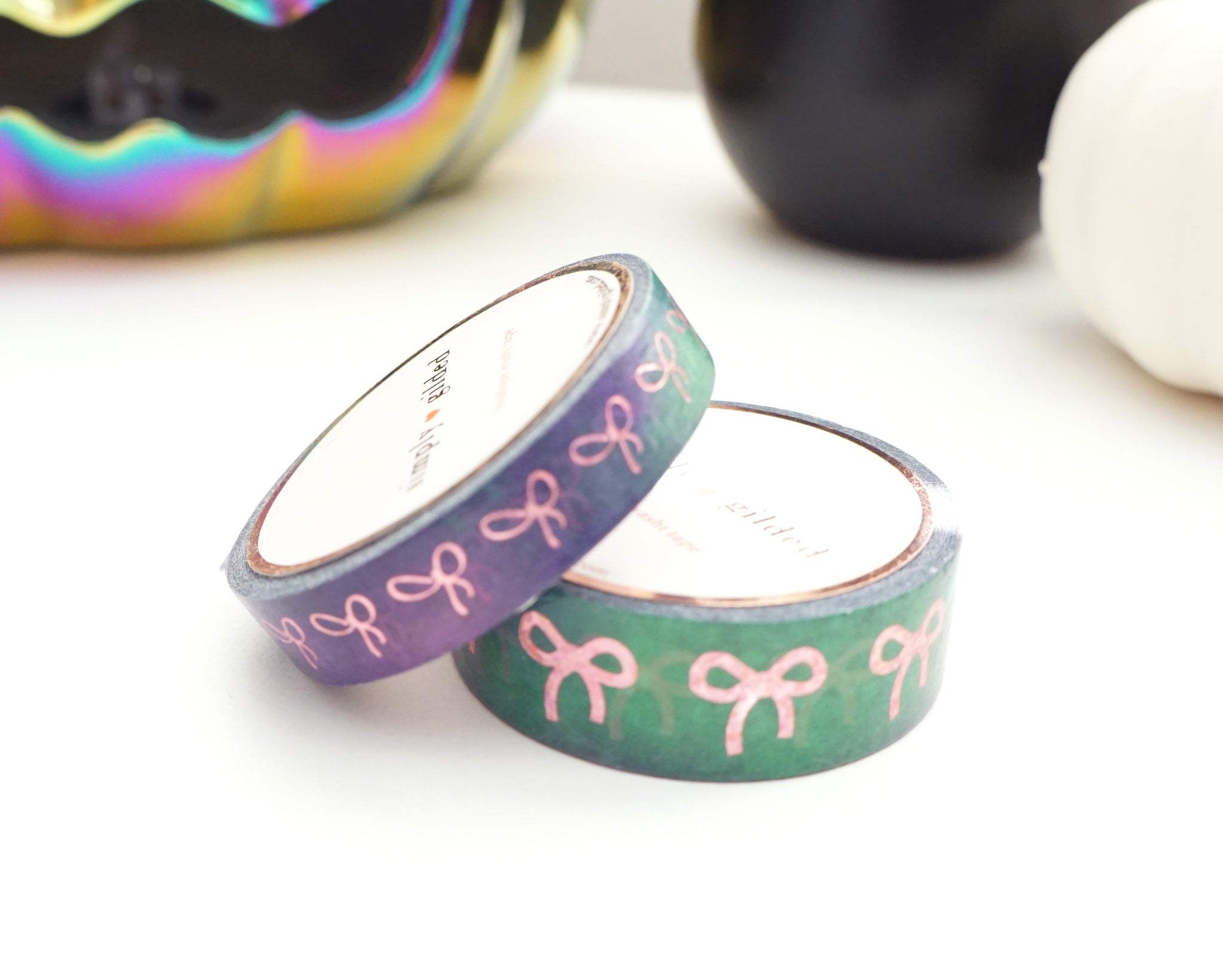 WASHI TAPE 15/10mm bow set Witch's Brew watercolor BOW + pink holographic confetti foil (September release)