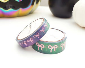 WASHI TAPE 15/10mm bow set Witch's Brew watercolor BOW + pink holographic confetti foil