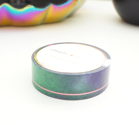 WASHI TAPE 15mm - Witch's Brew SIMPLE LINE + pink holographic confetti (September Release)