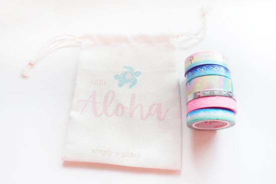 With ALOHA WASHI FULL SET + silver / glitter (With ALOHA)