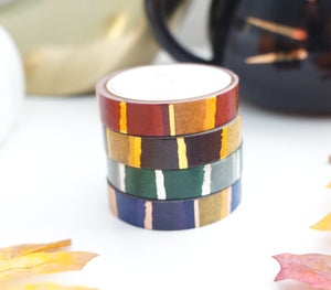 WASHI TAPE 10mm/4 set WIZARD HOUSE + gold/silver/rose gold foil washi tape