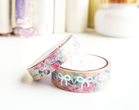 WASHI TAPE 15/10mm bow set - YELLOW FLORAL + mint foil (Mystery Monday)