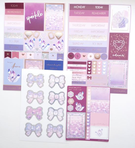 LUXE STICKER set - YOU'RE A GEM luxe stickers, mini sheet and bow seals (Mystery Monday)