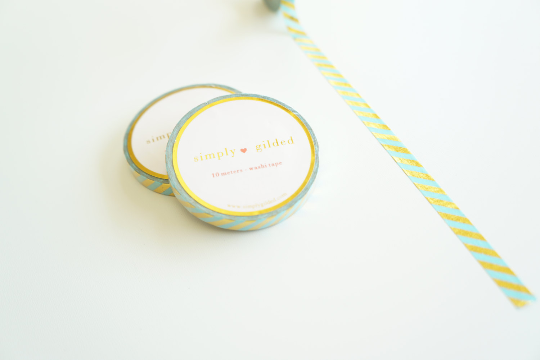 Aqua turquoise and gold foil skinny stripe washi tape