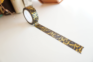 WASHI 15mm - Black marble and gold (Mystery Monday)