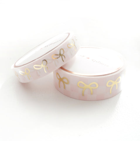 WASHI TAPE 15/10mm BOW set - Pink and White CHECKERBOARD + lt. gold (May Release)