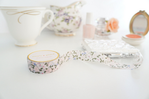 WASHI TAPE 15mm - FAIRYTALE FLORAL + pink foil hearts (Mystery Monday)