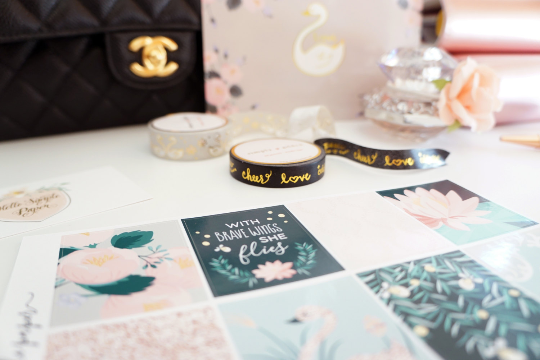 WASHI TAPE 10mm - Festive Words - black and gold foil words (Mystery Monday)