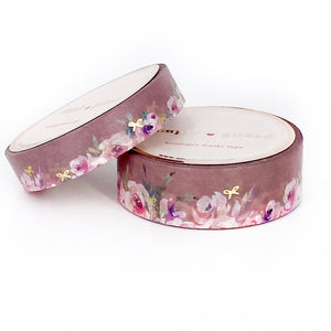 WASHI 15/10mm - Floral Floor TOASTED Almond + lt gold bows