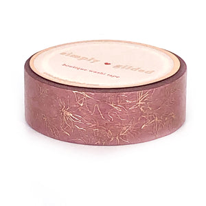 WASHI 15mm - Vintage Rose Minimal leaf outline + rose gold foil