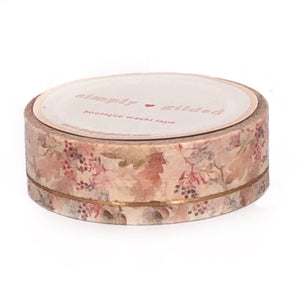 WASHI 15mm - NEUTRAL Fall Floral SIMPLE LINE + rose gold foil