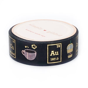 WASHI 15 mm - Coffee CHEMISTRY BLACK + lt gold foil