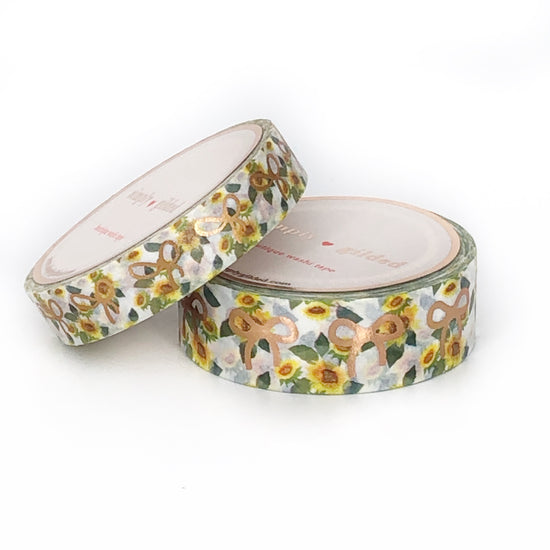WASHI 15/10mm - SUNFLOWERS + rose gold bows