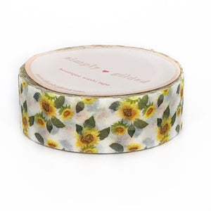 WASHI 15mm - Sunflowers GLITTER OVERLAY