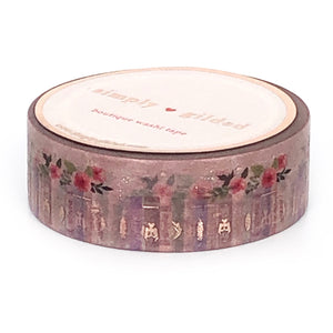WASHI 15mm - Misty Purple Pretty Bookshelf + rose gold foil