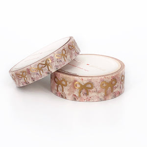 WASHI 15/10mm - Fall Floral NEUTRAL Bow + rose gold