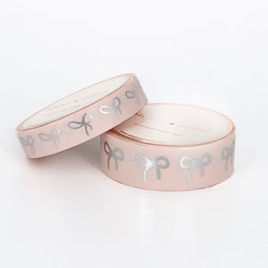 WASHI 15/10mm - POWDER PUFF Bow + silver foil