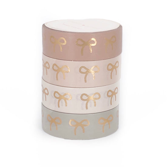 15mm BOX SET of 4 - BLUSHBABY BOW + rose gold foil