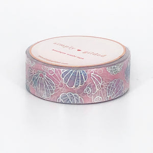 WASHI 15mm - PINK She Sells SEA SHELLS + sparkler silver holo
