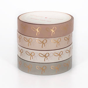 10mm BOX SET of 4 - BLUSHBABY BOW + rose gold foil