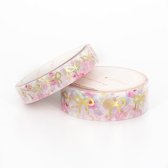 WASHI 15/10mm - Pink Pumpkin Patch BOWS + lt. gold