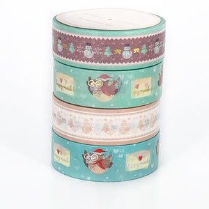 BUNDLE - Vintage Happy Mail OWLS and SNOWMAN (set of 4)
