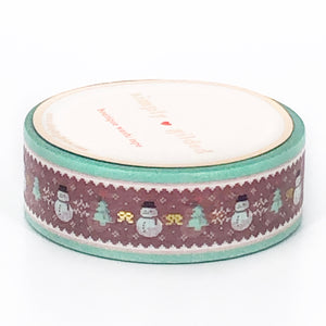 WASHI 15mm - Mint & Cocoa SNOWMAN Sweater + light GOLD