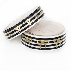 WASHI 15/10mm BOW set - BLACK and WHITE STRIPE + lt gold