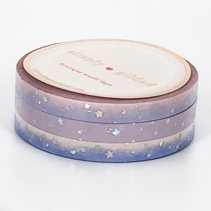WASHI 5mm set of 3 - SUGAR Shooting STARS + silver sparkler holo foil