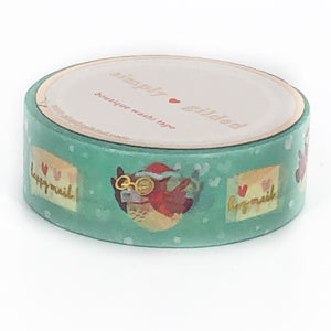WASHI 15mm - Vintage Holiday Happy Mail Owls + light GOLD (green)