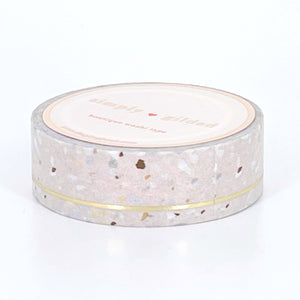 WASHI 15mm - PALE BLUSH Terrazzo SIMPLE LINE + light gold foil