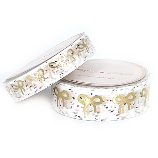 WASHI 15/10mm - WHITE Terrazzo + light gold bows