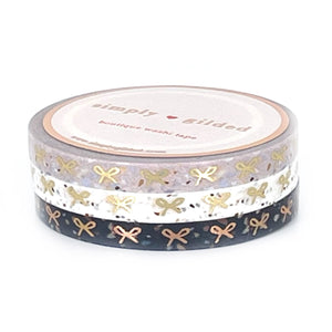 5mm set of 3 WASHI - Terrazzo HORIZONTAL BOWS + light gold/rose gold