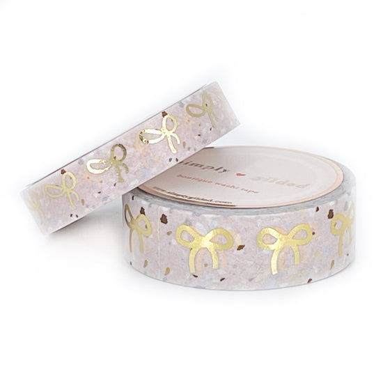 WASHI 15/10mm - PALE BLUSH Terrazzo + light gold bows OOPS