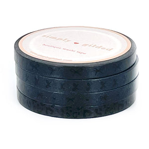5mm set of 4 WASHI - Black tone-on-tone