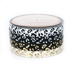 WASHI 6mm set of 2 - PERFORATED Black & White leopard - YOU PICK