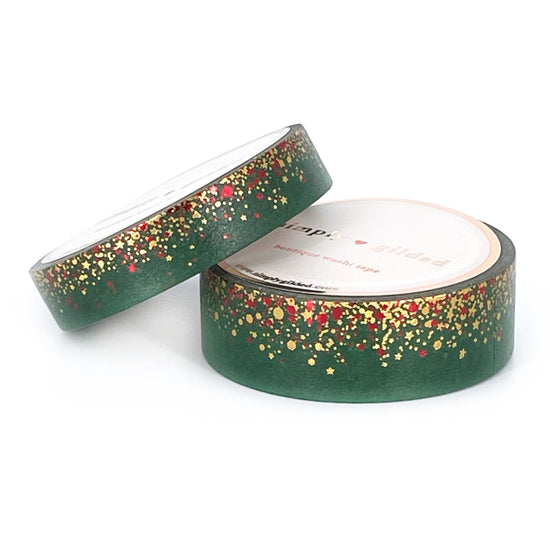 WASHI 15/10mm - MISTLETOE green Stardust + gold holo and red foil