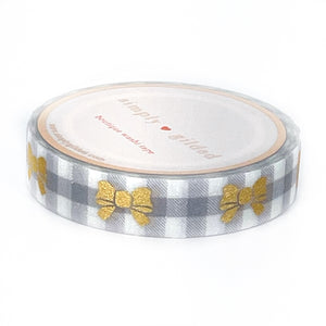 WASHI 10mm - FAWN'D MEMORIES Grey Checked Puffy Bow + light gold/glitter