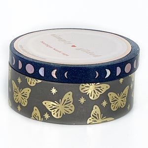 WASHI 15mm/6mm - DIVINE Butterfly/Perforated Moon Phases