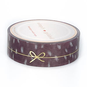 WASHI 15mm - FAWN'D MEMORIES Spotted Fawn SIMPLE LINE BOW + light gold