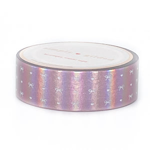 WASHI 15mm - Aurora Pink HEART & BOW + WHITE print