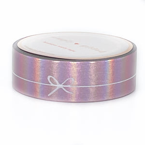 WASHI 15mm - Aurora Pink SIMPLE BOW LINE + WHITE print